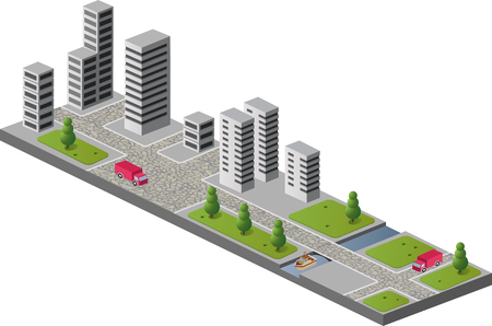 A fragment of the urban landscape with buildings Vector
