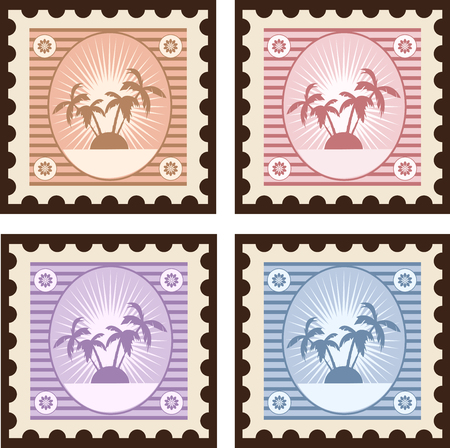 conducted: Old stamps to travel for design and creativity Illustration