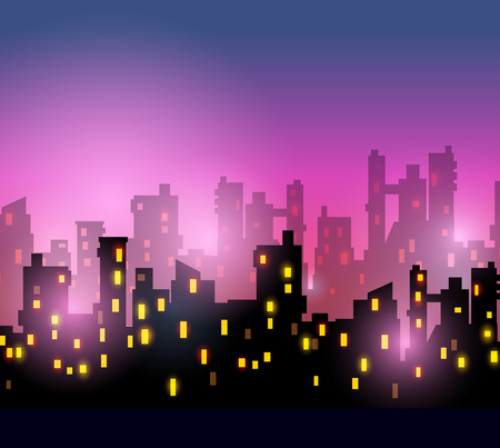 renting: City silhouettes of different colors on red Illustration