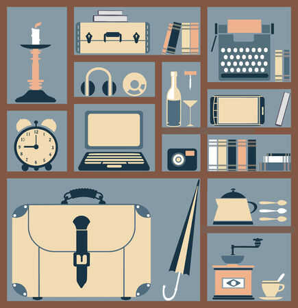 Set of various household items in style flat for web design