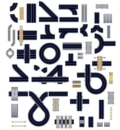 personas en la calle: Colecci�n de elementos aislados de la carretera para la construcci�n y una variedad de veh�culos. Pista para bicicletas