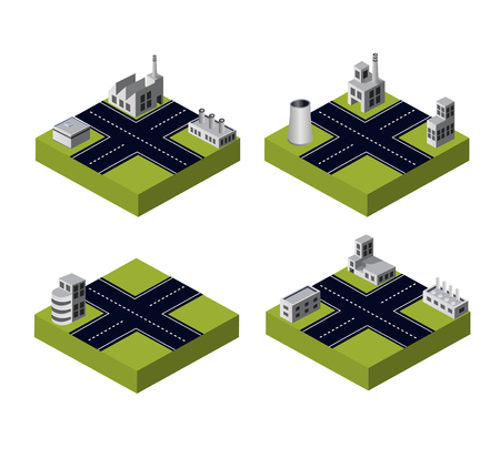 A set of industrial buildings on a white background Vector