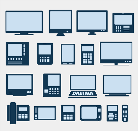 computer devices: Set of images of different computers and monitors Illustration