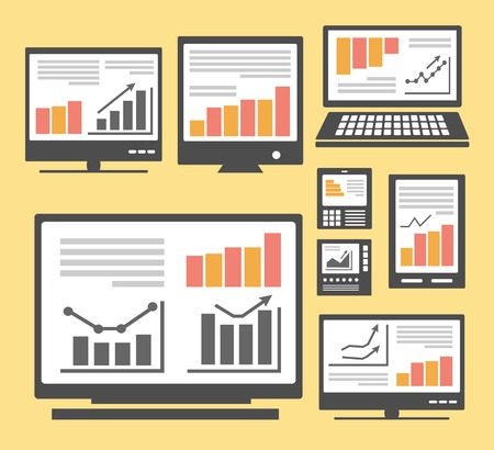 Set of images of different computers and monitors Vector