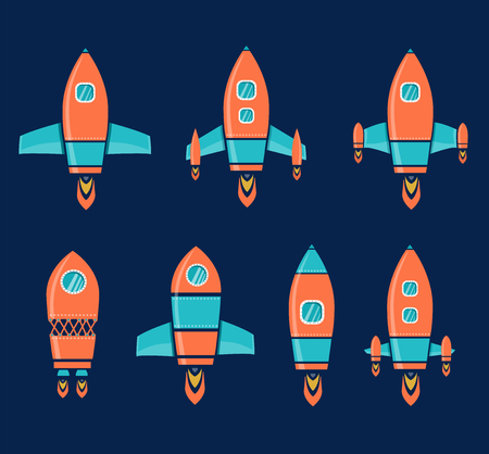 Rocket Space Ship, On Blue Background, Vector Illustration Vector