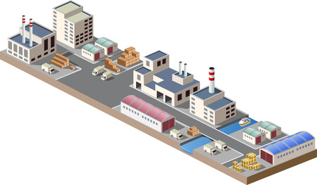 Illustration with elements of urban and industrial buildings 向量圖像