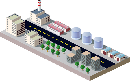 Illustration with elements of urban and industrial buildings Illustration