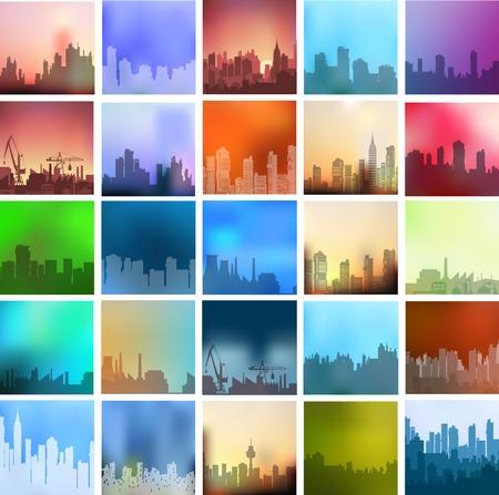 街の風景設定さまざまな色やスタイルの都市型の数が多い