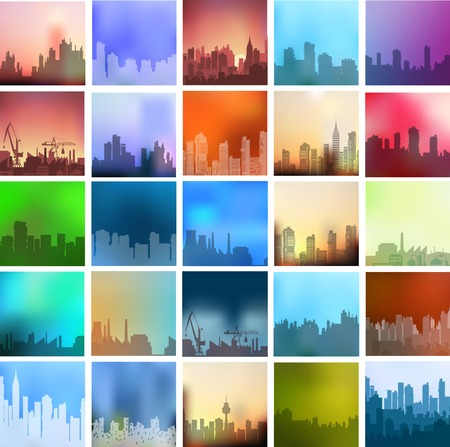 Landscapes of the city set a large number of urban types of different colors and styles