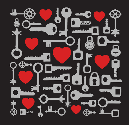 Key to my heart. Romantic song of the keys, locks and loving hearts on a black background. Vector