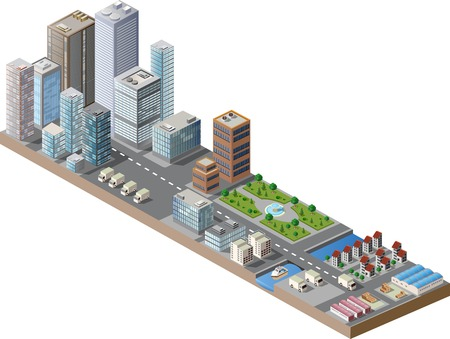 Vector isometric city center on the map with lots of buildings, skyscrapers, factories, and parks Vector