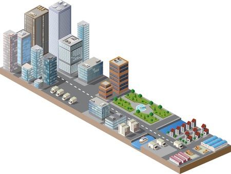 Vector isometrische Innenstadt auf der Karte mit vielen Gebäuden, Hochhäusern, Fabriken und Parks Standard-Bild - 35597831