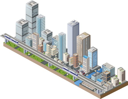 city building: Vector isometric city center on the map with lots of buildings, skyscrapers, factories, and parks