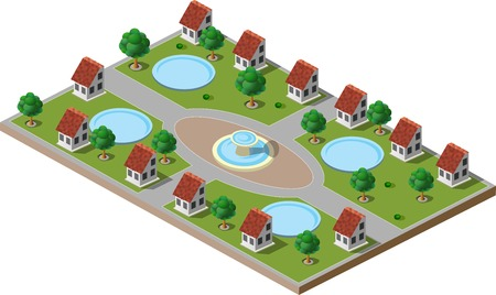 green park: Picture of green park with trees, lawns, a fountain and houses. There is also a swimming pool in each house. Illustration