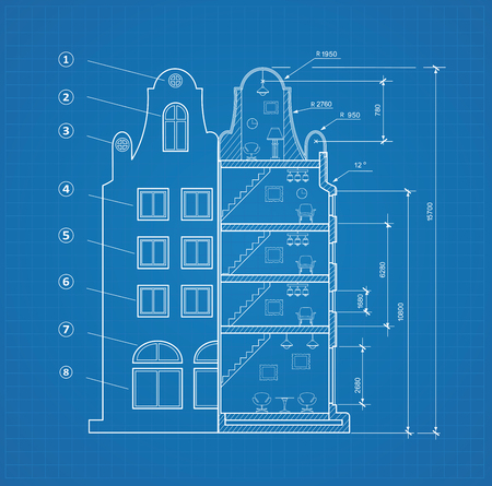 Blueprint facility and  engineering printout home Illustration