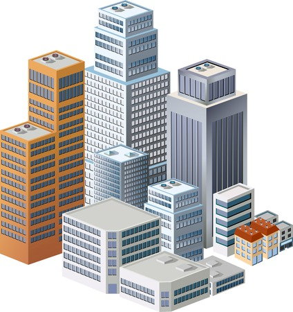 Skyscrapers, urban high-rise home. Set of objects for urban design. Vector