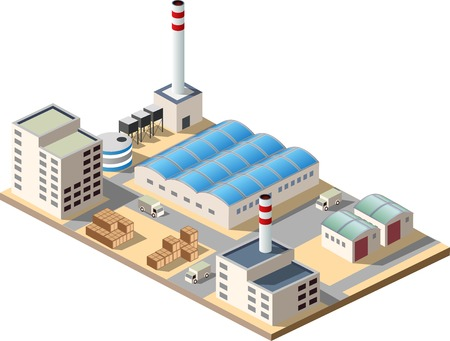 Isometric factory consists of a hangar, boiler, boiler room and storage Illustration