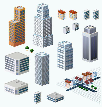 penthouse: Skyscrapers, urban high-rise home. Set of objects for urban design. Illustration
