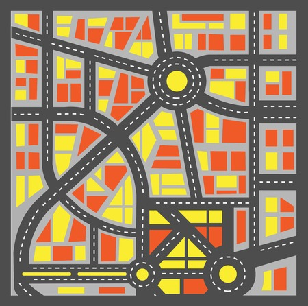 urban planning: Plan a city block diagram in red colors with streets and houses. Illustration