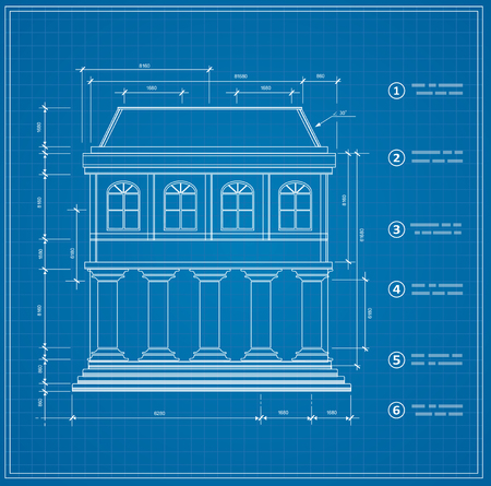 plotting: Blueprint facility and  engineering printout home Illustration