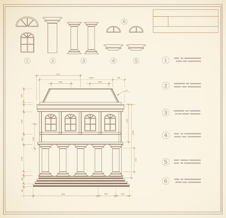 Plan facility and engineering print out home Illustration