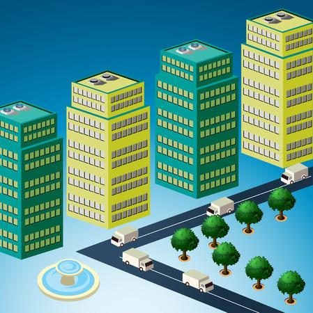 Skyscrapers, urban high-rise home. Ilustração