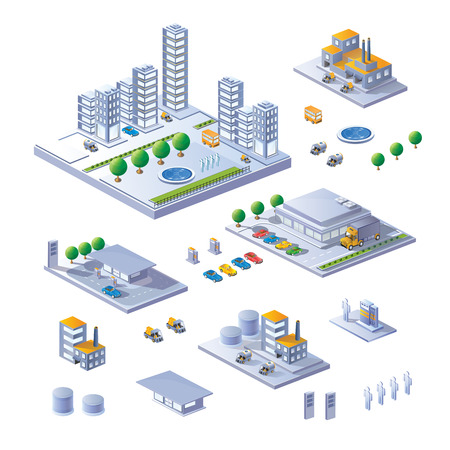 A large set of isometric buildings, buildings and transport.