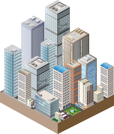 residential neighborhood: Skyscrapers, urban high-rise home. Set of objects for urban design. Illustration