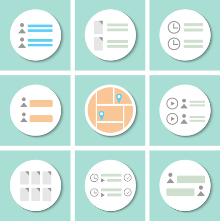 icons site search: Template interface to design websites, mobile applications and inspiration. Different in style and color templates interface. Illustration