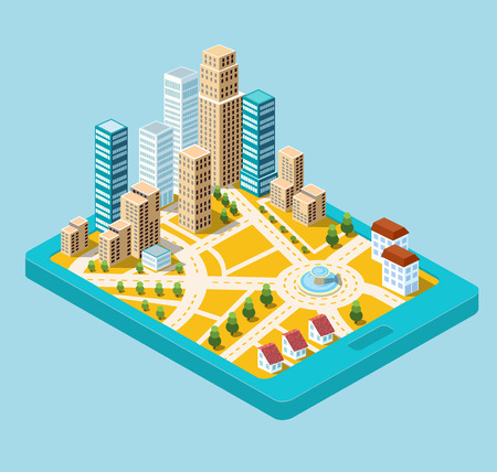 city center: Vector  isometric city center on the map with lots of buildings, skyscrapers, factories, and parks. Picture in style flat