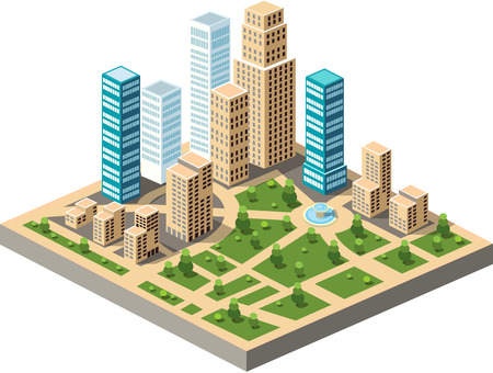 city buildings: Vector  isometric city center on the map with lots of buildings, skyscrapers, factories, and parks. Picture in style flat