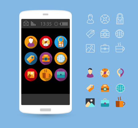 Buttons,  and icons for interface