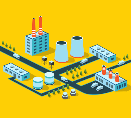 manufactory: Industrial buildings, factories and boilers in perspective for design and creativity Illustration