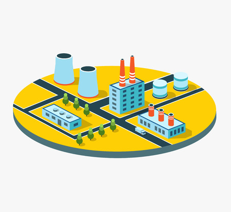 building lot: Industrial buildings, factories and boilers in perspective