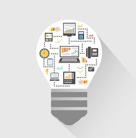 inforgraphic: Flat design style modern vector illustration icons set of science and technology development.