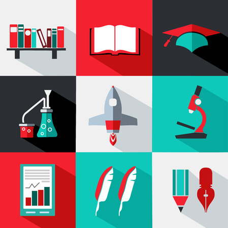 Icons style flat. Various objects and symbols Ilustrace