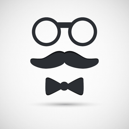 props: Mustache,  eyeglasses and bow tie.  Retro background. Set of retro elements Illustration