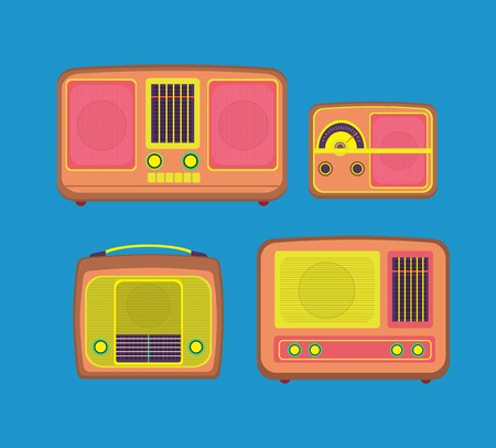 Retro technology over colorful background vector illustration