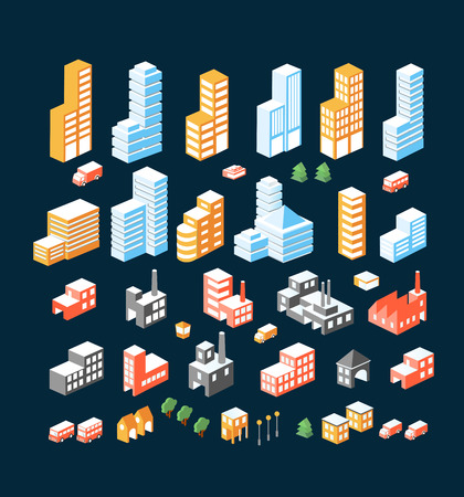 city building: A large set of isometric buildings, buildings and transport.