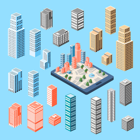 residential neighborhood: A large set of isometric buildings, skyscrapers and houses.