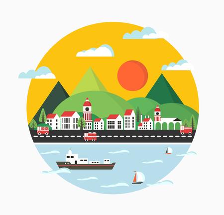 フラットな街、都市の建物、車、船のスタイルで都市の景観は、ヨットし、波します。
