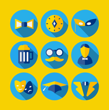 Set of vector icons in the style of flat Illustration