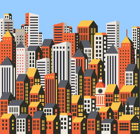 Background of the city  buildings, skyscrapers and houses. Urban drawings in a flat style. Ilustração