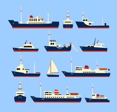 pesca: Los buques conjunto. Siluetas de varios barcos y yates. Vectores