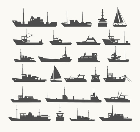 floating: Ships set. Silhouettes of various ships and yachts.