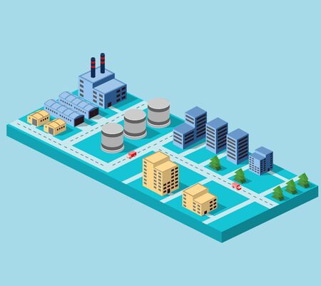 Industrial buildings, factories and boilers in perspective for design and creativity Illustration