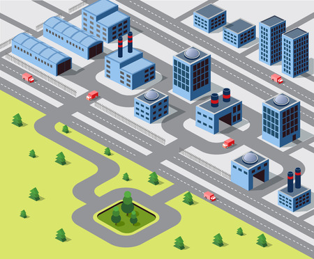 large office: Factories, warehouses and office buildings in urban areas of large cities Illustration