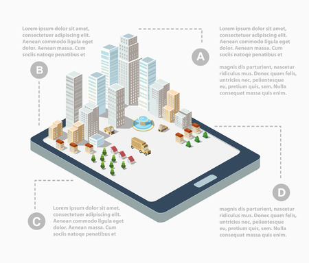 mobile app: Supermarkets, skyscrapers and office buildings in urban areas of large cities