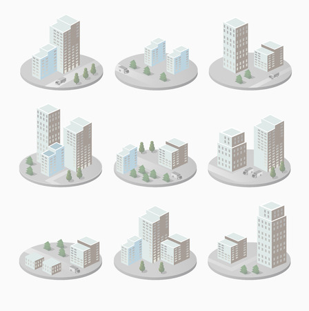 penthouse: Infographics with isometric houses and urban landscape