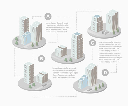 Infographics with isometric houses and urban landscape